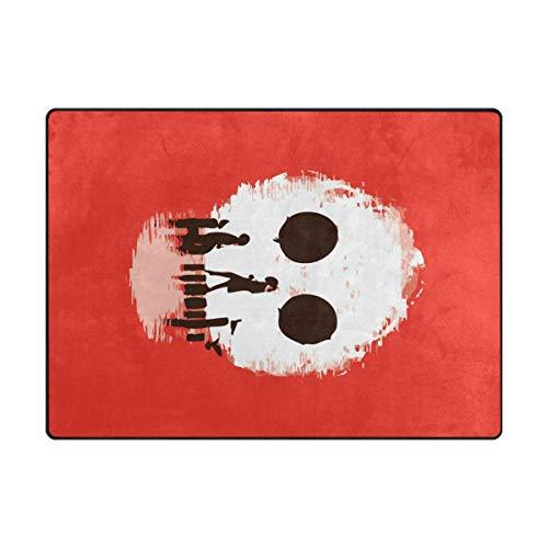 DEZIRO Tapis de Sol antidérapant Motif tête de Mort, Polyester, 1, 80 x 58 inch