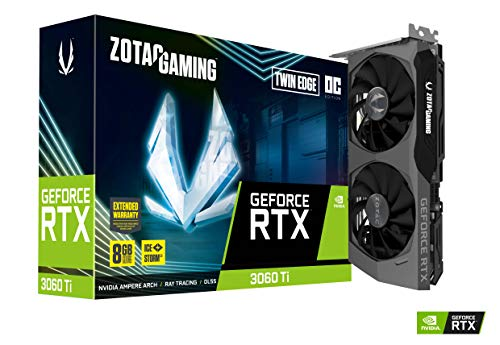 ZOTAC Gaming GeForce RTX 3060 Ti Twin Edge OC 8GB GDDR6 256-bit 14 Gbps PCIE 4.0 Gaming Graphics Card, IceStorm 2.0 Advanced Cooling, Active Fan Control, Freeze Fan Stop ZT-A30610H-10M