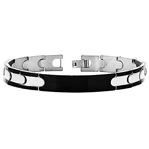 Beloved Pulsera de hombre de acero color plateado y negro con placa – Longitud 21 cm – Cierre de clip – Placa de color negro