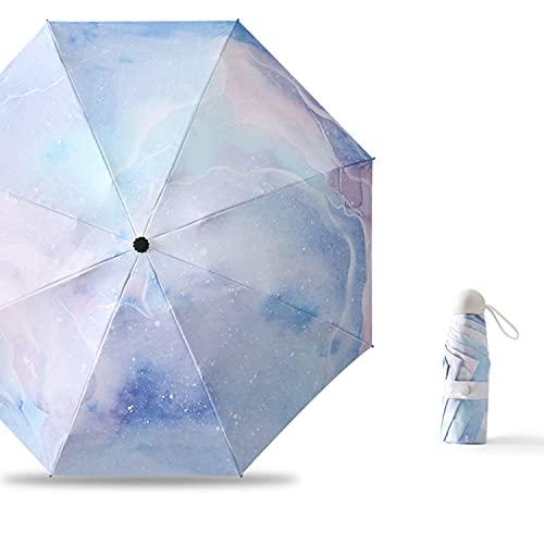 CHUANGRUN Mini Paraguas De Viaje para El Sol Y La Lluvia, Paraguas De Viaje Automático a Prueba De Viento, Paraguas De Lluvia De Mochila Plegable, Pequeña Y Portátil, con 95% De Protección UV