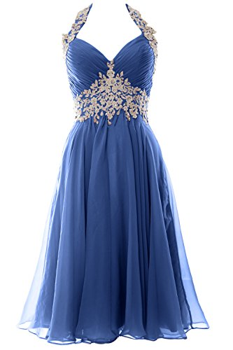 MACloth Women Halter Short Applique Homecoming Wedding Party Guest Dresses Gala (36, Horizon)