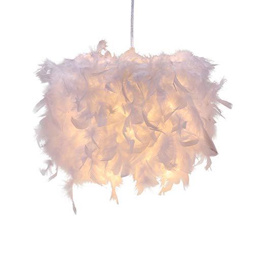 Fuoliystep Luz de Techo de Plumas Luz de Techo Redonda de Plumas Sombra Colgante Pantalla de Lámpara Esfera de Fácil Ajuste Estilo Moderno Adecuado para Dormitorio Cafetería Sala de Estar