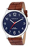 Dial Color : Blue | Dial Diameter : 38 mm | Case Thickness : 8mm | Band Width : 22mm | Max Perimeter : 200mm | Min Perimeter : 150mm Genuine Leather Strap | Stainless Steel Back | Water Resistant Premium Analog Watch | Quartz Movement | Battery: 100%...