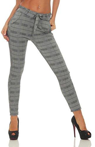 OSAB-Fashion 4367 Damen Hose Business-Hose Kariert Damenhose Büro Karohose Treggings Slimline