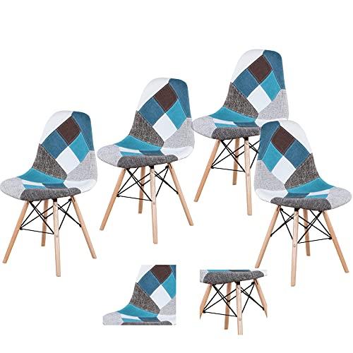 Silla de salón para interiores, de mediados de siglo moderno de plástico/lino, cocina multiestilo, comedor, dormitorio, sillas laterales de sala de estar, juego de 4 (Blue-BB, 4)