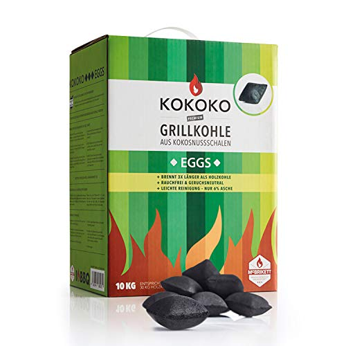 KOKOKO EGGS Grillkohle von McBrikett, 10kg, Ideal für Dutch Oven, Kugelgrill, Weber & Watersmoker, Bio Kokos Grillbriketts