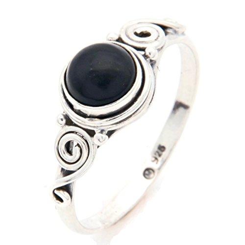 Ring Silber 925 Sterlingsilber Onyx schwarz Stein (Nr: MRI 115), Ringgröße:60