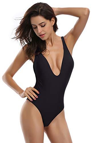 SHEKINI Donne Un Pezzo Bikini Donna High Cut Costume Intero Mare e Piscina Costumi da Bagno Donna Intero Beachwear Imbottitura Estraibile (Medium/(UK 12-14), Nero)