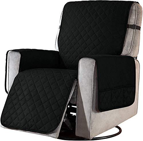 Funda para silla reclinable, funda deslizante para sofá, ancho de asiento a 25 pulgadas, protector lavable reversible con correa elástica ajustable para el hogar con niños y mascotas (caqui, grande)