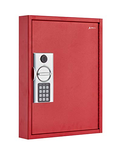 AdirOffice 60 Hooks Key Cabinet with Digital Lock - Heavy Duty Secured Storage, Steel- Ideal for Homes Hotels Schools & Businesses (Red)