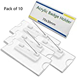 IronBuddy Badge Card Holder Blank Clear Acrylic Name Tags Holders with Pin, 2.8x1.2 Inch, Pack of 10