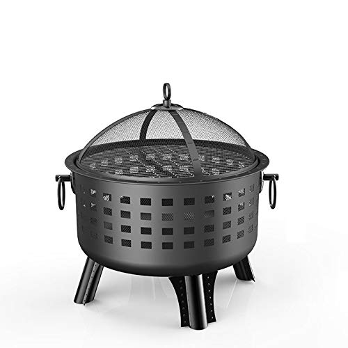 ZWWZ 2 In 1 Outdoor Fire Pit And Wood Barbecue Manual Garden Cooker Heating Bowl With Safety Grate Net Cover Poker Handle Cover Patio Campfire
