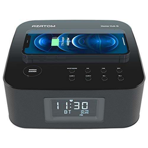 AZATOM Homehub Clock Radio Alarm / Wireless charging / 30W Speakers / USB Charging / Bluetooth/ iPhone 12, 11, X, 8, Samsung Galaxy S9, S9, S8, Note 8, S7, S7 Edge (Black)
