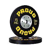 PROUD Competition Bumper Plate negro discos de competición discos de pesas de goma...