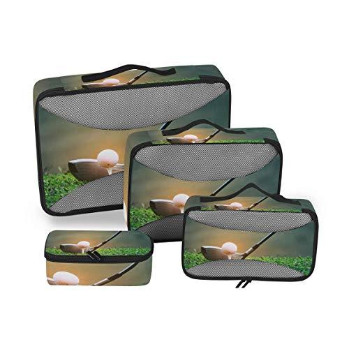 BIGJOKE Reise-Packwürfel 4 Set Sport Golfball Leichtgewichtiges Reisegepäck Zubehör Reise Packtaschen Organizer Aufbewahrungstasche