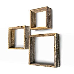 Square Floating Wood shelves Wall Decoration