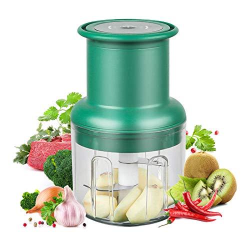 AVNICUD Picadora eléctrica universal con capacidad de 300 ml, portátil, carga USB, picadora universal para verduras, frutas, cebollas, nueces, ajos, alimentos para bebés (verde)