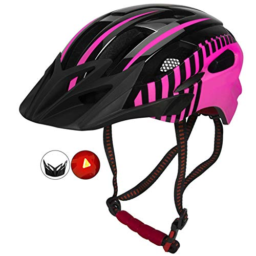 Casco Bicicleta Yuan Ou Casco de Ciclismo Casco de Bicicleta Moldeado Integrado con luz LED con luz Trasera Casquillo de Seguridad para Bicicleta MTB de Carretera Rosa Rojo