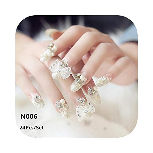 Pegatinas de uñas Boda 24Pcs Luxe Brillante Strass Boda Uñas postizas Transparente Glitter Gems Crown Diseñado Cuadrado Completo Corto Uñas postizas Novia-N006-
