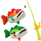 Forty4 Kids Fishing Game Toy with 1 Adjustable Fishing Rod and 2 Realistic Fish, Pool Fishing Toy Set with Magnetic Bait, Safe and Durable Fishing Toy Gift for Toddlers Babies Boys Girls