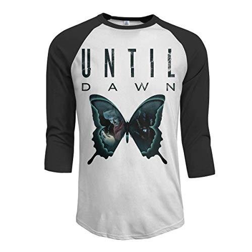 Pimkly Herren Tee T-Shirt, Men's Until Dawn 3/4 Sleeve Raglan Baseball T-Shirt Black