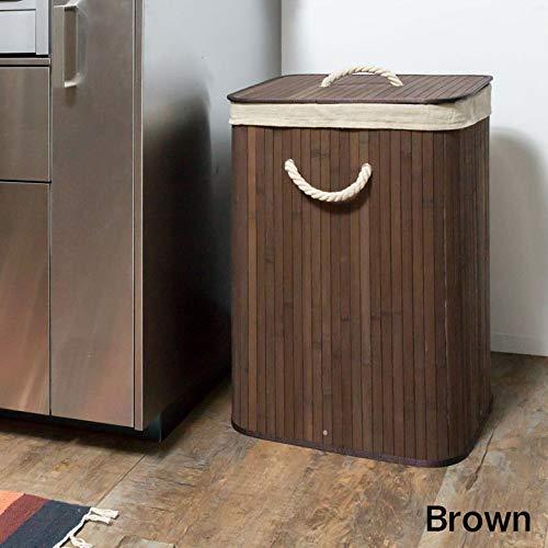 ランドリーバスケット45L[ブラウン]ランドリーボックスランドリー収納コンパクト持ち運び洗濯物入れ洗濯かご四角スクエア脱衣かご[並行輸入品]