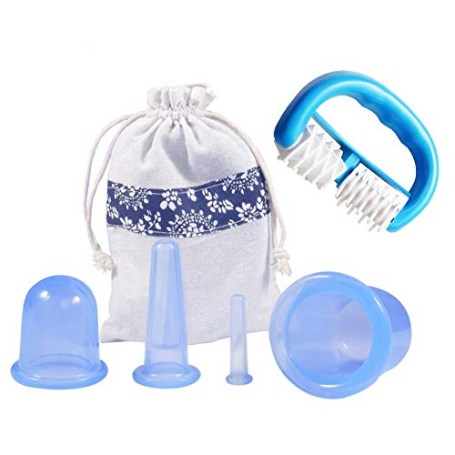 Delaman Silicio Ventosas Taza/Anti de Las Celulitis de Rodillos, 5 Piezas, Azul - Masaje con Ventosas Slime Kit cellublue Ventosa Kit sexuales