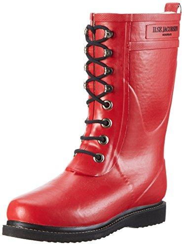 Ilse Jacobsen Damen Gummistiefel | Schuhe aus 100% Natur Bio Gummi | garantiert PVC frei | 3/4 Lange Stiefel mit Schnürsenkel aus 100% Baumwolle | RUB15 Rot 39 EU