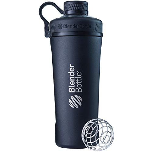 BlenderBottle Radian Edelstahl Trinkflasche, Thermoflasche mit BlenderBall, geeignet als Wasserflasche, Protein Shaker und Fitness Shaker, BPA frei, Doppelwandig, Vakuum isoliert - schwarz (770ml)