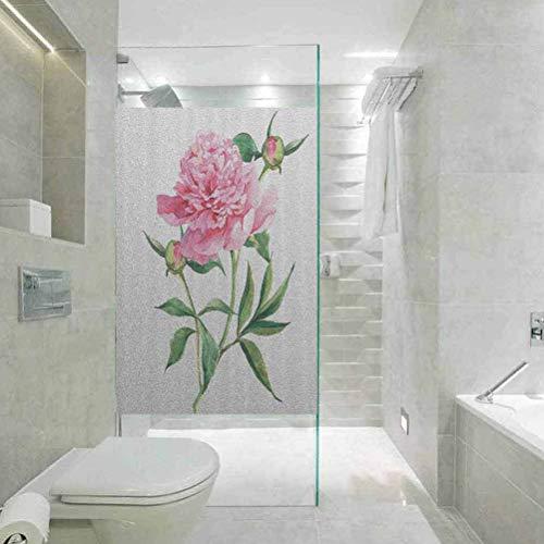 Pegatina de cristal para ventana de baño con diseño de flores de...