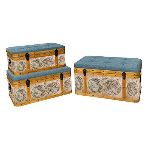 """Set de 3 Taburetes-Baúles Decorativos de Madera Acolchados """"Mapamundi"""". Sillas y Sillones. Puffs. Cajas Multiusos. Decoración Hogar. Regalos Originales. Muebles Auxiliares. 80 x 48 x 40 cm"""
