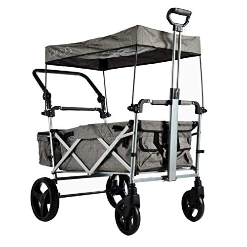 IMLEX IM-9002 Grau Faltbarer Bollerwagen mit Dach mit Teleskop mit Schubstange mit Bremsen Große Räder Hinterräder mit Stoßdämpferfederung idealer Begleiter für Ausflüge
