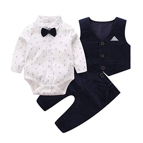 Boarnseorl Baby Jungen Bekleidung Set, Taufe Junge 3tlg with Fliege + Weste + Gentleman Langarm Anzug Outfit für Festlich Geburtstag Hochzeit,2-3 Jahre Alt