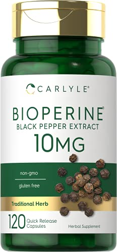 Bioperine 10mg | 120 Capsules | Non-GMO & Gluten Free | Sourced from Black Pepper Extract | Supports Curcumin Powder Absorption | by Carlyle