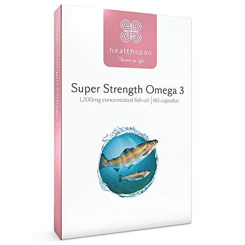 Omega 3 1,200mg | Super Strength | Healthspan | 240mg DHA & 360mg EPA | Sustainably Sourced (60 Capsules)