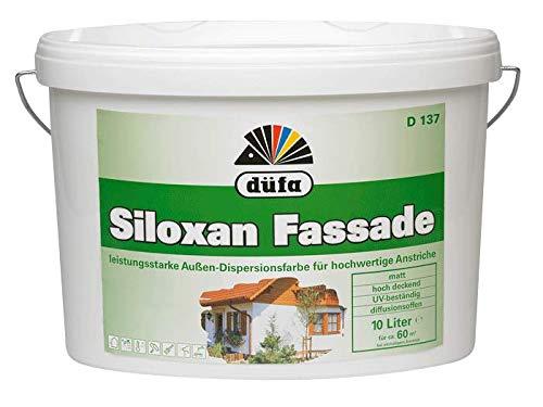 Düfa D137 Siloxan Fassadenfarbe (10l) Weiss | Langzeitanstrich | Wetterbeständige Fassaden-Beschichtung | Außenbereich
