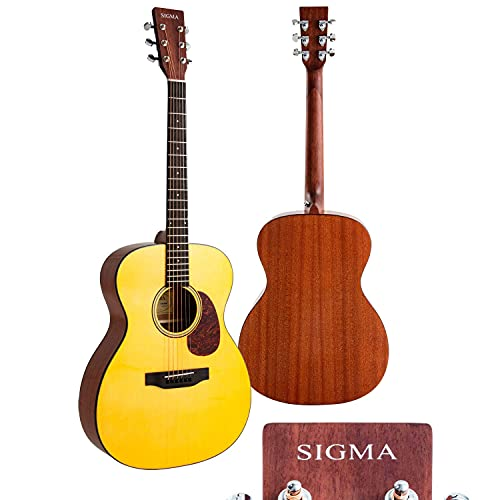 """SIGMA 40"""" Acoustic Guitar, OOO, 4/4 Full-Size, Premium Name-Brand Tuner & String, Solid Vintage Tinted Gloss Spruce Top, Mahogany Back/Side,Right(10A)"""