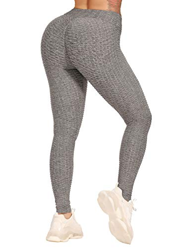 CROSS1946 Leggings para mujer, transpirables, para levantamiento trasero, cintura alta, pantalones de yoga, yoga, deporte, control de abdomen, gimnasio gris oscuro S