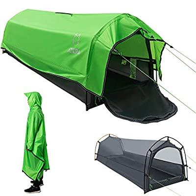 ATEPA Single Person Waterproof Bivy Tent Lightweight 1 Person Outdoor Camping Tent Portable 3-In-1 Multipurpose Bivvy Bag Tent Green Oversize Poncho For Backpacking, Hiking, Mountaineering, Travel
