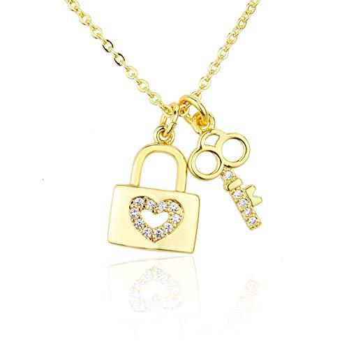 ShSnnwrl Colgante Zirconia cúbica para Mujer, Collares con Colgante de candado, Delicado candado de Cristal, Collar de corazón, c