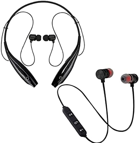 Amazpro Today Only Sale HBS 730 Wireless Neckband Bluetooth Noise Cancellation Headset with Wireless Bluetooth Headset Magnet Earphone with Hand Free Calling Bulit in Mic