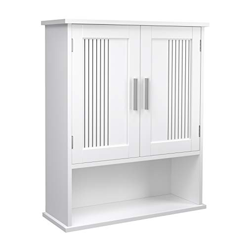 VASAGLE Wall Cabinet, Hanging Bathroom Storage Organizer, Medicine Cupboard with Adjustable Shelf, Double Doors and Open Shelf, 23.6 x 7.8 x 27.5 Inches, Wooden, White UBBC26WT