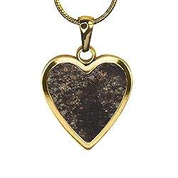 Herzanhänger mit echter Sternschnuppe (Meteorit) | Herz Damen Halskette mit Anhänger | Unikat | Gravur möglich | Geschenk Valentinstag Verlobung Hochzeit Muttertag | mit Gravur