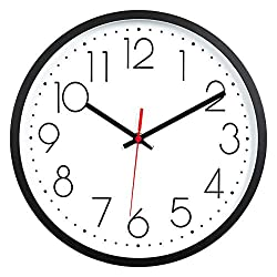 Kingrol 12-Inch Black Wall Clock, Silent Non Ticking Quality Quartz Clock Easy to Read for Home Office School