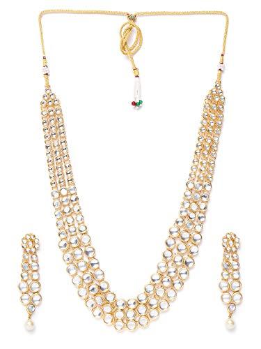 Vishal-Vatika Indian Traditional Design Gold Tone Long Kundan Necklace for Women Wedding Jewelry