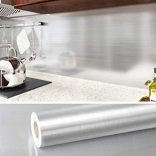 VEELIKE Papel de contacto de acero inoxidable de 15.7 x 236 pulgadas para electrodomésticos, resistente al calor, autoadhesivo, para lavavajillas, frigorífico, lavadora, horno,...