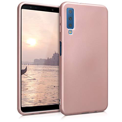 kwmobile Hülle kompatibel mit Samsung Galaxy A7 (2018) - Hülle Silikon metallisch schimmernd - Handyhülle Metallic Rosegold