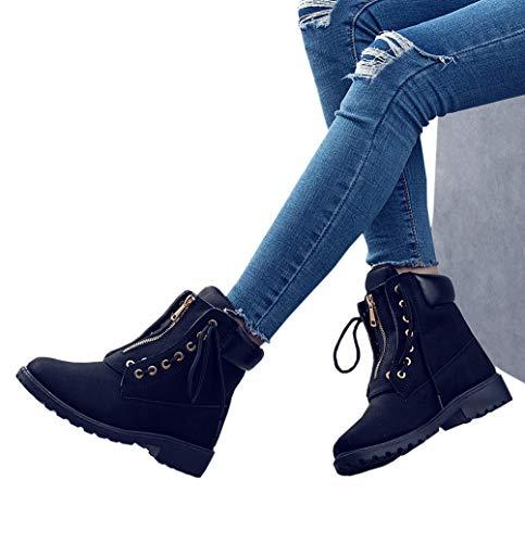 DADAWEN Women's Round Ankle Booties