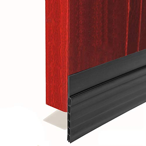 "BAINING Door Draft Stopper Sweep, 3 Inches Widening Door Bottom Seal Strip Under Door Noise Blocker for Interior Doors Insulation and Soundproofing, 3"" W x 39"" L Black (2019 New Upgrade)"