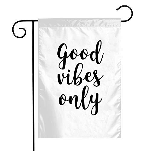 Garden Flag Welcome Flag Phrase Vibes Inscription Hand Good Drawn Lettering Ink Modern Miscellaneous Abstract On Artistic 12x18 Inch Yard Flag Farmhouse Spring Summer Home House Lawn Decor